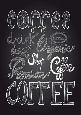 Coffee unusual text chalkboard poster illustration.  Vector