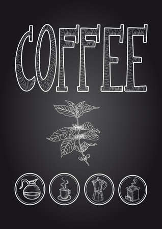 Vintage coffee chalkboard icons set poster.  Vector
