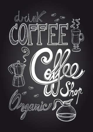 빈티지 커피 요소 손을 그리기 스타일 칠판 포스터.