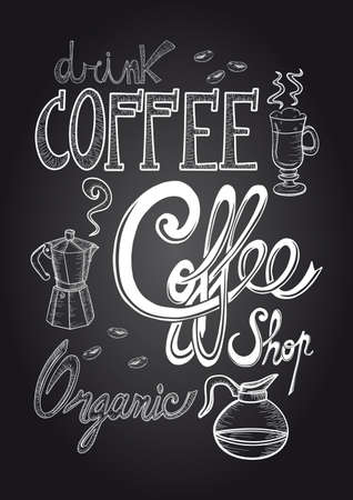 machine shop: Vintage coffee elements hand draw style chalkboard poster.  Illustration