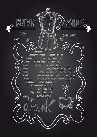 Vintage coffee shop blackboard hand draw composition. Stock Vector - 21279848