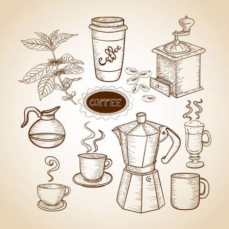 coffee mill: Vintage coffee jar, mug, machine and grinder illustration.  Illustration