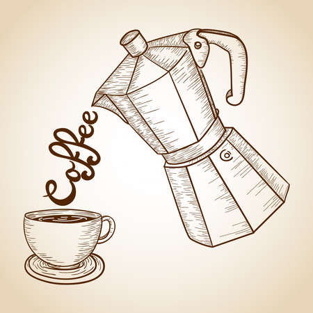 Vintage cup and jar of coffee serving text illustration. Vector