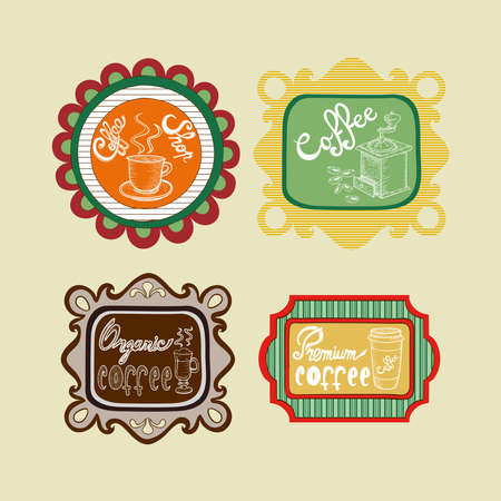 Vintage collection of coffee label illustrations.  Stock Vector - 21279841