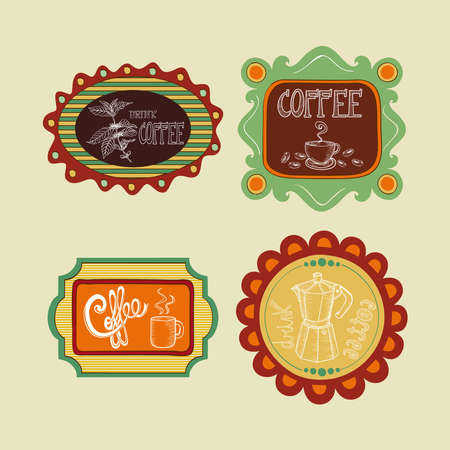 Vintage collection of coffee labels hand drawn set.  Illusztráció