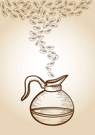 Vintage coffee jar and coffee beans sketch. Vector