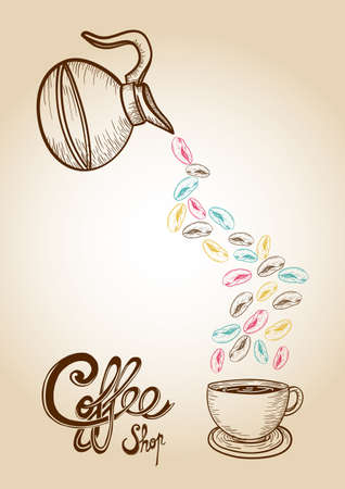 coffee house: Vintage coffee cup, jar colorful beans hand drawn illustration.