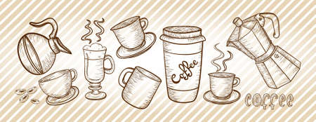 Coffee elements stripes background.  Vector