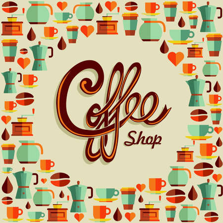 coffee machine: Vintage coffee shop text with flat icons background.  Illustration