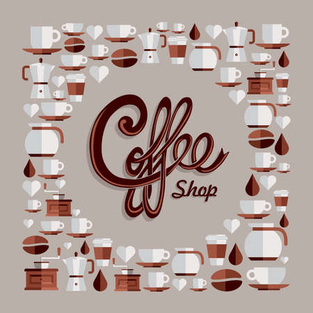 Vintage coffee shop text and flat icons set.
