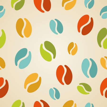 Vintage coffee beans seamless pattern illustration. Vector