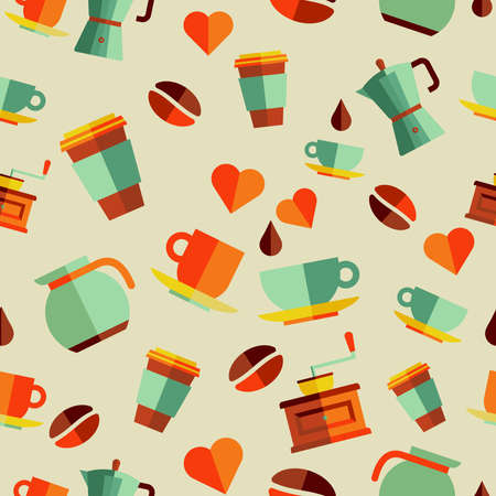 Vintage coffee flat icons seamless pattern illustration. Vector