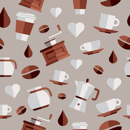 Coffee flat icons seamless pattern set. Stock Vector - 21279834