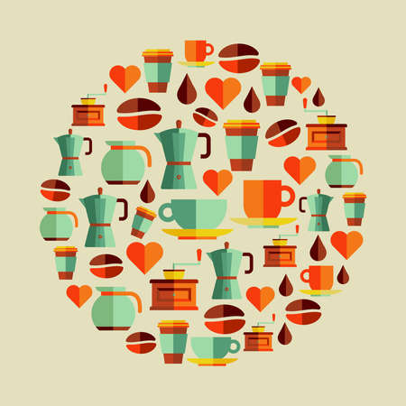 Coffee flat icons elements circle shape. Vector