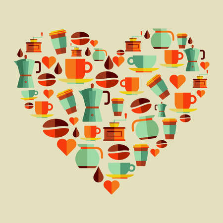 Coffee elements heart shape flat icons.  Vector