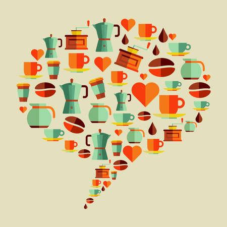 Coffee flat icons social media bubble shape. Stock Vector - 21279888
