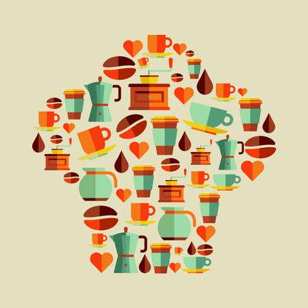유행: 커피 평면 아이콘 요리사 모자 모양 개념. 일러스트