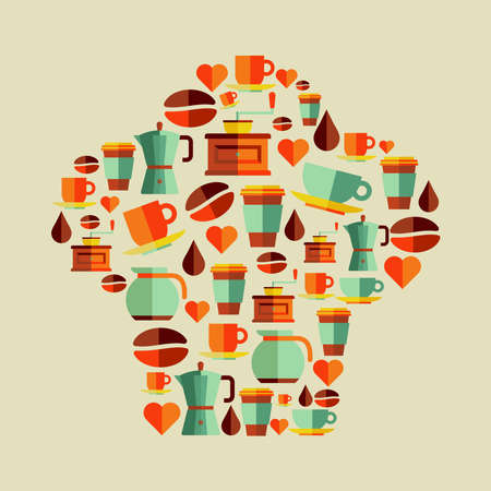 Coffee flat icons chef hat shape concept. Stock Vector - 21279890