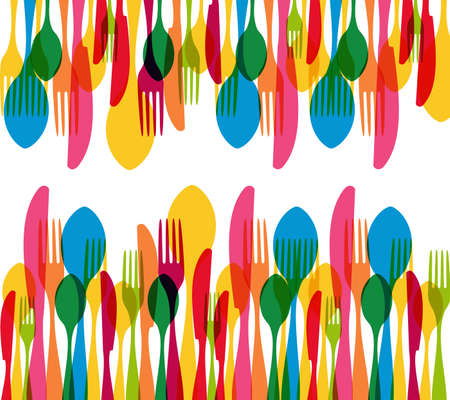 banquet table: Colorful cutlery elements seamless pattern illustration.
