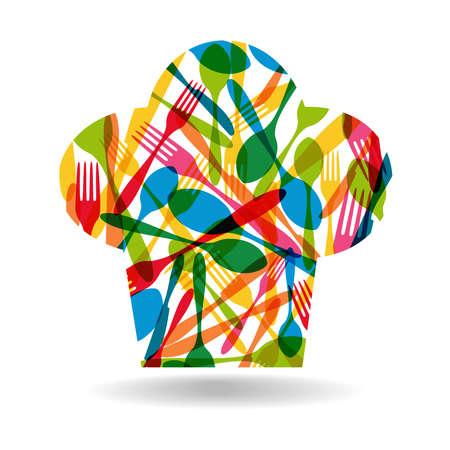 šéfkuchař: Barevné nádobí chef klobouk vzor tvaru ilustrační.