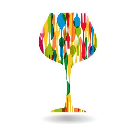 다채로운 식기 와인 잔 모양입니다.
