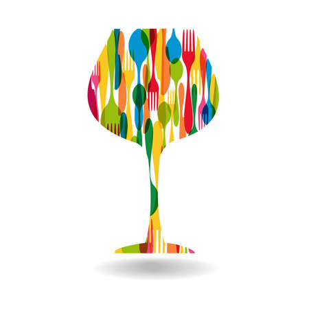 Colorful dishware wine cup shape.  Vector