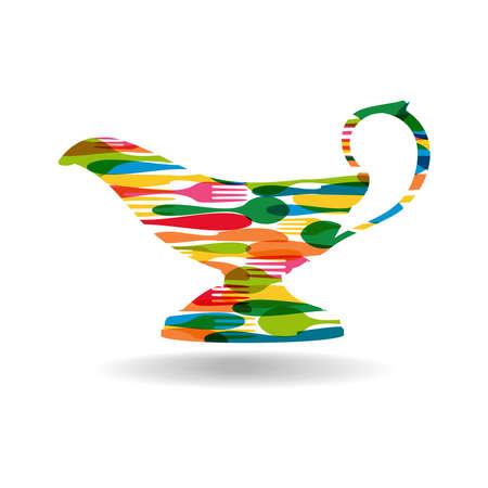 dinnerware: Vintage colorful dishware pattern sauce coat shape.