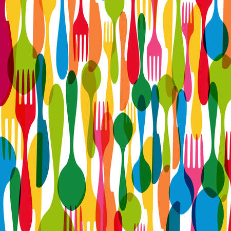 Colorful dishware elements seamless pattern illustration.  Vector