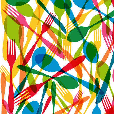 Vintage colorful dishware elements seamless pattern illustration.  Vector