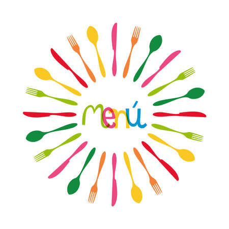 Colorful menu dishware circle shape.