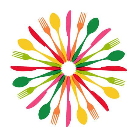 flatware: Colorful cutlery pattern circle shape.