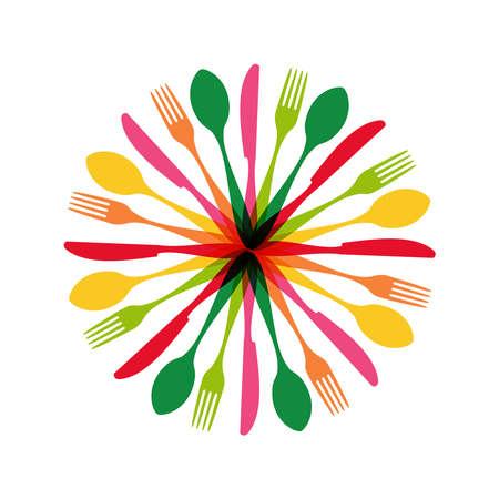 カラフルな食器パターンの円の図形。  イラスト・ベクター素材