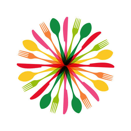 Colorful flatware pattern circle shape. Vector