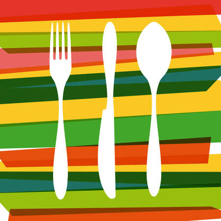 Colorful dishware silhouette  over stripes illustration.  Vector