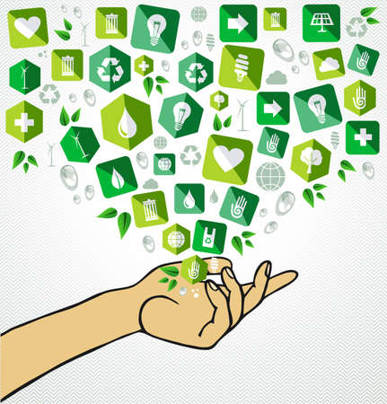 go green icons: Human hand sustainable development flat icons splash illustration.