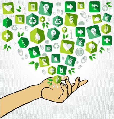 desarrollo sustentable: Lado el desarrollo iconos plana bienvenida Ilustración humano sostenible. Vectores