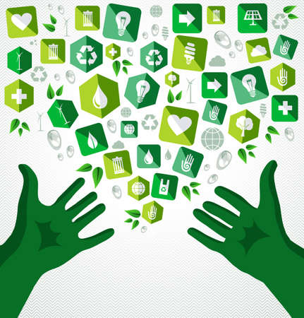 natural energy: Life open human green hands eco friendly flat icons illustration.  Illustration