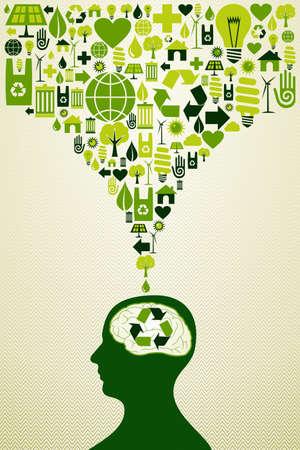 desarrollo sustentable: Piense en los iconos de energía eco cabeza humana.
