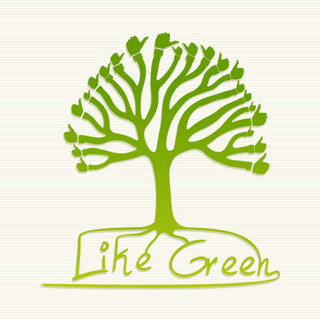 reusable: Eco friendly thumb up human hand tree.