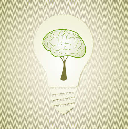 Eco friendly human brain light bulb save energy concept.  Vector