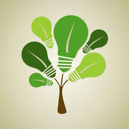 Eco friendly renewable energy light bulbs tree.  Vector