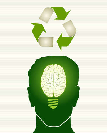 Human head brain lightbulb recycle icon illustration.  Vector