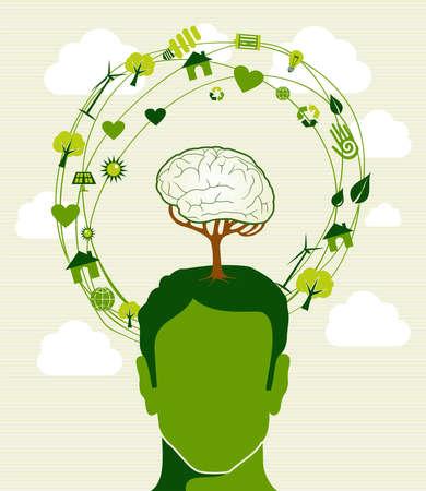 Human head,tree brain green icons recycling ideas.
