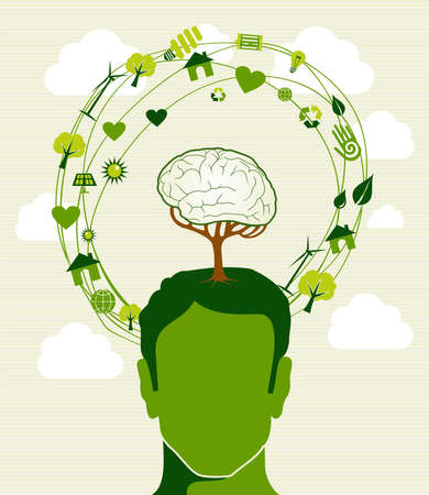 Human head,tree brain green icons recycling ideas.  Vector