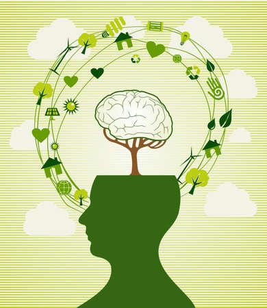 environmentalist: Ecologic renewable energy icons human head.