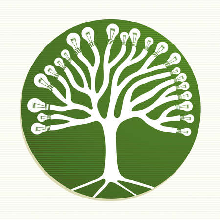 Ecologic energy icons tree illustration.  Vector