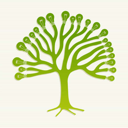 environmentalist: Eco friendly light saving bulbs life tree illustration. Illustration