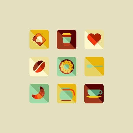 Coffee elements flat icons illustration set.manipulation and custom coloring Vector