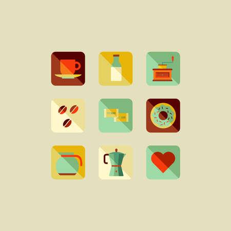 Coffee elements flat icons illustration set. Stock Vector - 21280343