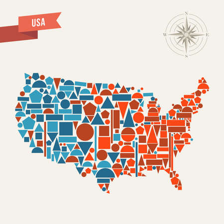 United States map geometric elements illustration.  Vector